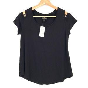 NEW JM Collection Cold-Shoulder Top T-Shirt Black PS petite classic S women's